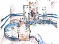 Дизайн сауны с бассейном