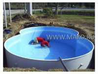 Монтаж сборного бассейна(восьмерка)